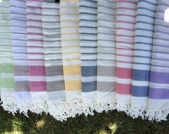 2 stripes Bamboo Peshtemal Towel  - Authentic Towel - Bath Towel - Beach Towel - 100% Bamboo