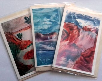 Set of 3 Encaustic Wax Print Greetings Cards (Mix and Match)