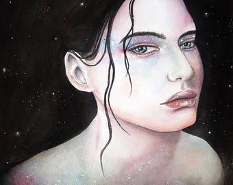 Her Infinite Heart #3 Spacegirl watercolour PRINT