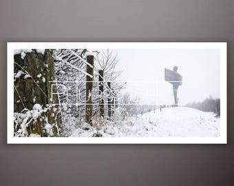 Angel of the North panoramic photo print, Winter snow flurry scene, Snow Angel photography shot, winter Landscape image