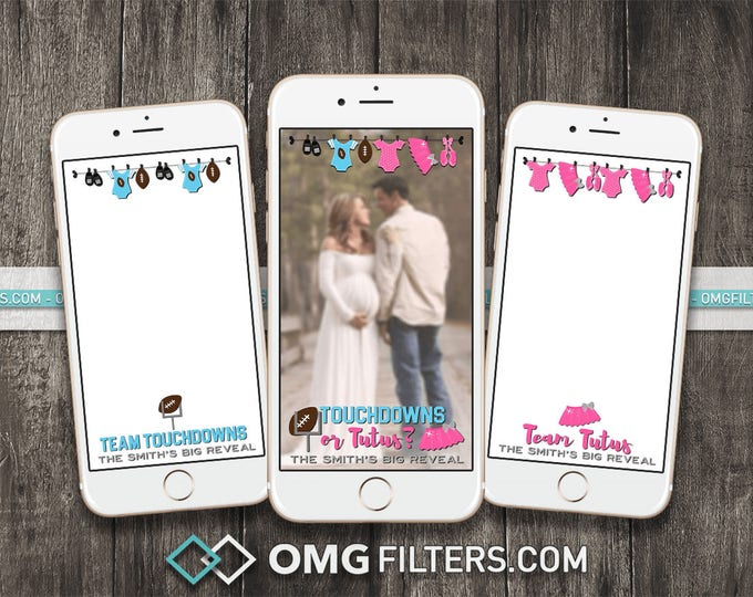 Touchdowns or Tutus Gender Reveal - Custom Snapchat Filter - Choose from a Single Geofilter or a Pack of 3!