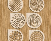 "Animal Patterns Sampler / 6 Piece (4"" diameter) Cookie Set Stencils - Sku APC0100"