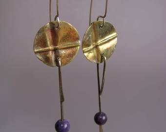 Fold form earrings, brass and amethyst earrings, silver and brass earrings, handmde earrings