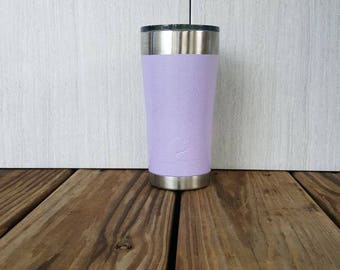 Lilac with Silver Glitter painted 20oz tumbler **Free Monogram with purchase**