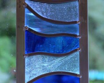 Leaded stained blue glass suncatcher
