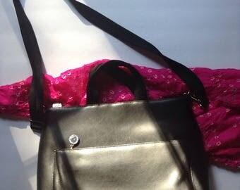 Medallion Black Genuine Leather Tote / Shoulder Bag / Purse / Cross Body
