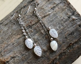 925 Sterling Silver Earrings, Mother of Pearl, MOP Leaf Beads, Delicate, White, Chic Jewelry, Gift for Women, Bridesmaids Gift