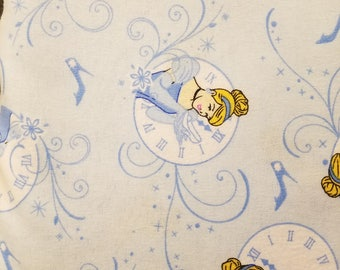 FLANNEL-Disney Flannel Fabric-Cinderella Fabric- Cinderella Flannel Fabric on light blue From Springs Creative