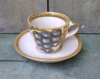 Louisville Stoneware Vintage Pattern, Bunch of Grapes, Coffee or Tea Cup or Mug and Saucer,  Handpainted, Made in Kentucky
