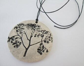 ceramic pendant, natural pendant, ecological pendant, ceramic necklace, ceramic jewelry, pendant with plant, ceramics plant, plants pattern