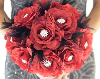 "FULL PRICE!!!  Ready to Ship 11"" Premium Red Real Touch Roses Rhinestone Brooch Bouquet, Customized Bling Diamond Bouquet"