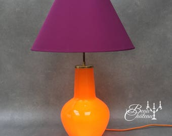 Giant 1960s Illuminated Glass Lamp for Table or Floor Bold Rich Orange with Gold Fittings.   60s Large Retro Scandinavian Table Lamp