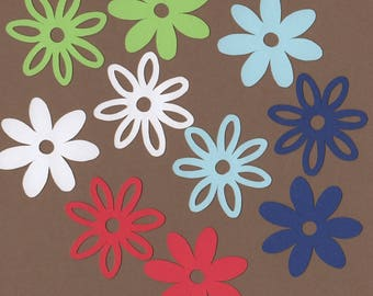 """120 - 2""""  Flower Die Cuts for Paper Crafts Nautical Colors Set # 1551"""