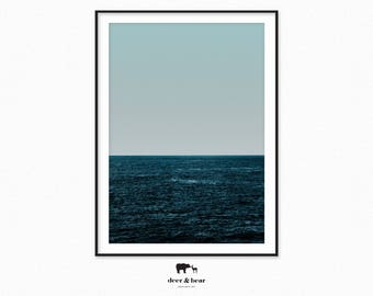 Ocean Print, Blue Wall Art, Ocean Photography, Minimalist Art, Horizon Print, Seascape Art, Waves Print, Water Photography Minimal Landscape