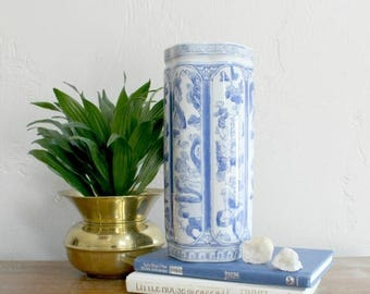 Large Chinoiserie Vase, Blue and White Vase, White Porcelain Vase, Oriental Decor, Flower Vase, Asian Vase, Vintage White Vase, Ceramic Vase