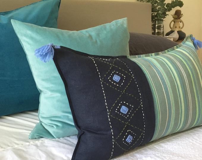 Fair Trade Artisan Green Stripe Textile + Navy Washed Eco Friendly Linen + Australian Merino Embroidery & Wool Tassel Cushion Cover
