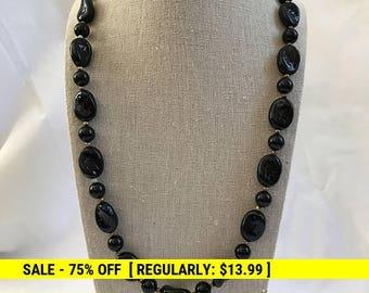 Vintage Black Bead Necklace, Stamped Bead, Retro, Estate Jewelry