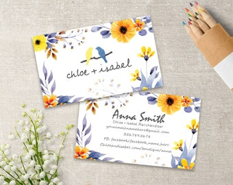 Chloe And Isabel Business Cards, Chloe + Isabel Custom Card, Personalized, 3.5x2, Watercolor Flowers Style