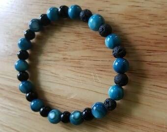 Men's Diffuser Bracelet, Manly Aromatherapy Bracelet, Stretchy Essential Oil Bracelet, River Shell Bracelet, Lava Stone Jewelry,