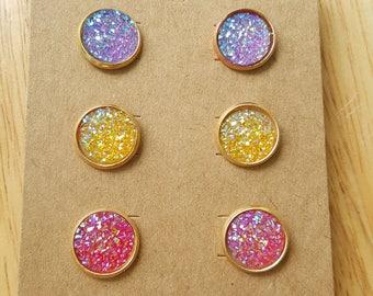 Druzy Studs, Faux Druzy Earrings, Yellow Druzy Studs, Purple Druzy Earrings, Pink Druzy Studs, Gold Plated Druzy Earrings, Druzy Earring Set