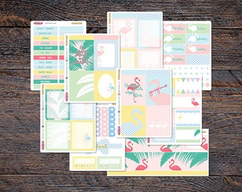 35% SALE - Flamingo Tropical Weekly Stickers Kit for Erin Condren Life Planner Spread Spring Summer KES006-Kit