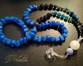 Necklace. Beaded necklace. Handmade necklace. Swarovski pendant.
