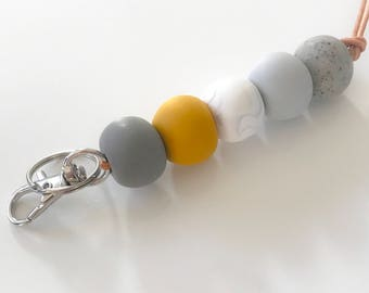Mustard and grey beaded lanyard necklace, key chain