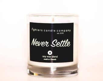 Never Settle Soy Wax Candle, Christmas Gifts, Masculine Candles, Black Candles