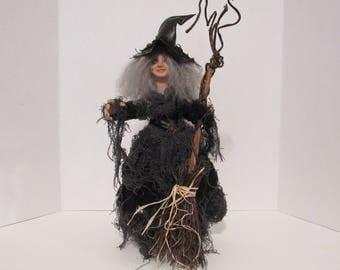 Agatha Dark Witch, OOAK Art Doll, Witch, Goth Art Doll, Handmade Sculpture, by ds hahn