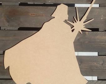 Darth Vader silhouette wood scalloped paint medium