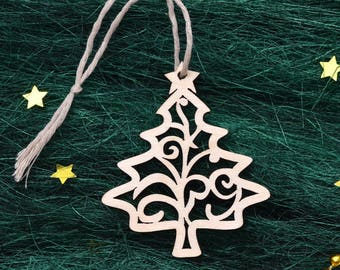 WOODEN CHRISTMAS DECORATIONS // Wood Christmas Tree Decor - Laser Cut Christmas Ornaments Handmade - Wood Ornaments - Wooden Christmas Decor