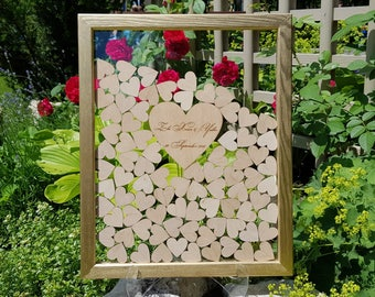Wedding Guest Book Alternative Guest Book Personalized Drop Top box Heart Guestbook Custom guestbook Memory Box Gold Guestbook glassy