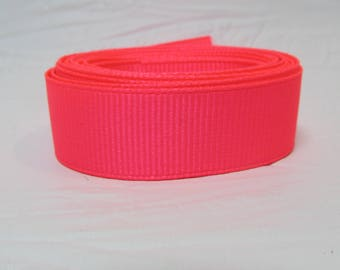 "Grosgrain ribbon 5/8"" Neon Pink sold by the yard"
