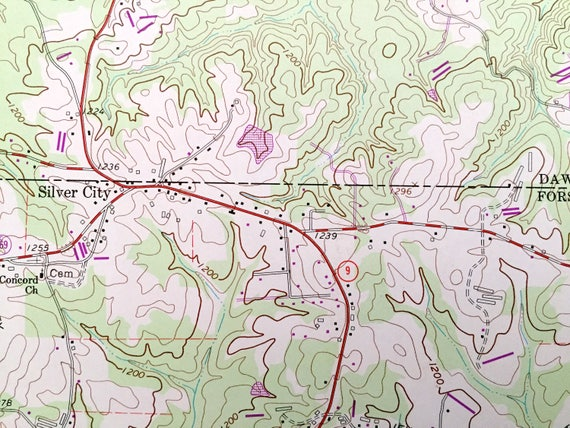 Antique Coal Mountain Georgia 1964 Us Geological Survey Topographic Map Lake Sidney Lanier Silver City Dawson County Forsyth County