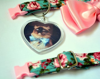 Custom personalised key rings - bag decoration - bag tags - Key ring - Heart Shaped Custom ID Tag With Photo and Text