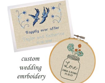 WEDDING custom cross stitch customized embroidery wedding sampler personalized cross stitch pattern beginners embroidery anniversary sampler