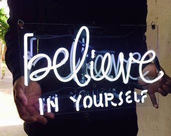 "New 'Believe in yourself' Wedding Sweet Lovely Art Sign Handmade Neon Sign 11""x7"""