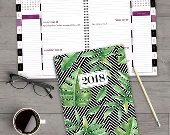 Striped Jungle 2018 Daily Weekly Monthly Large Planner