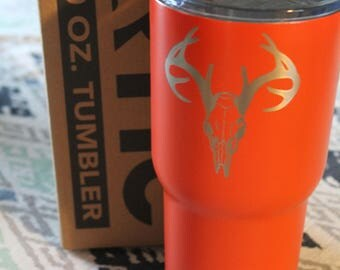 30 OZ Custom Powder Coated Tumbler - Orange Deer