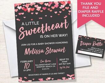 Sweetheart Baby Shower Invite Invitation Digital Sprinkle Confetti HEARTS Valentine Chalkboard 5x7