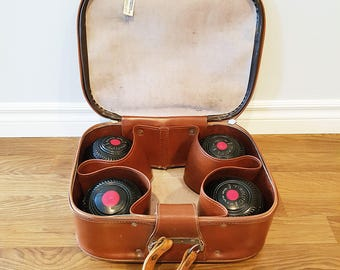 Vintage Set of 4 Taylor Rolph Lawn Bowling Balls, with Vinyl Carry Case, 1960s Lawn Bowls