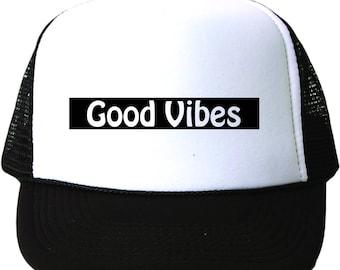 Good Vibes Trucker Hat|Women's Trucker Hat|Mens Trucker Hat|Youth Trucker Hat|Vibes|Custom Trucker Hat|