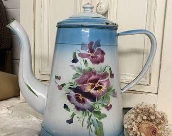 Ancient coffee pot, enamel, shabby