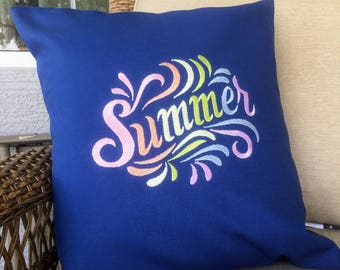 Summer splash outdoor pillow cover, 18 inches square