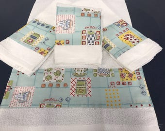 Set of four retro cafe coffee themed hand towels