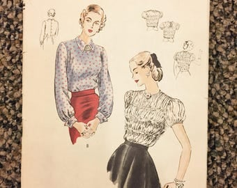 "Vogue Pattern #6315 Shirred Blouse 40's, 32"" Bust, Complete, Factory Folded"