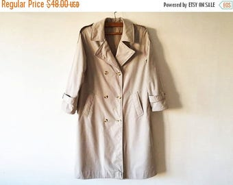 ON SALE Beige Womens Trenchcoat Light Brown Women's Trench Classic Raincoat Double Breasted Preppy Size Large Detective Inspector Gadget Ove