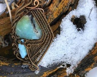 Puruvian Opal and Larimar wire wrap