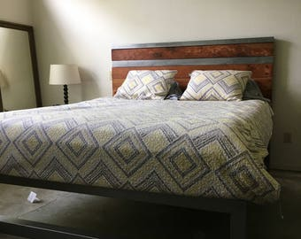 Rustic industrial bed and head board