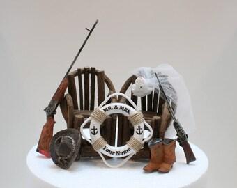 Country Wedding Cake Topper, Hunting, Shot Gun Wedding, Riffle, Gun, Adirondack Chairs, Duck Hunting, Deer, Hunting, Life Buoy,River Wedding